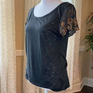 Aerie Black T shirt short sleeved sheer sequins S